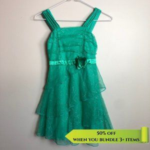 George Green Floral Sparkly Dress - Size 8